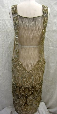 1920s gold beaded evening dress, back view