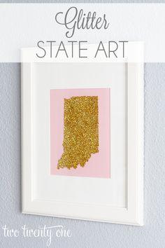 DIY glitter state art