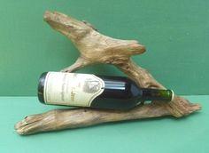 Driftwood Sculpture Wooden Wine Display  Bottle by DivineDriftwood, $38.90