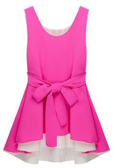 Rose Red White Sleeveless Belt Asymmetrical Chiffon Dress