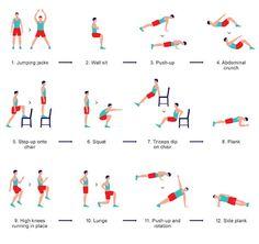 Chaque exercice est a pratiquer durant 30 secondes avec 10 secondes de pause entre chaque exercice et font travailler de manière alternative, les muscles du haut et ceux du bas.