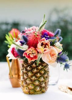 Floral Tablescape with Pineapple as Vase