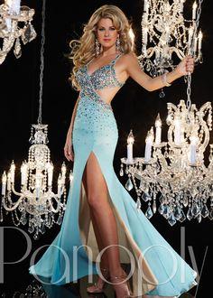 Panoply 14629 -Aqua/Nude Beaded Trumpet Prom Dresses Online