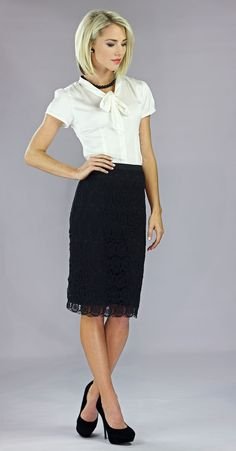 Lace Modest Pencil Skirt in Black