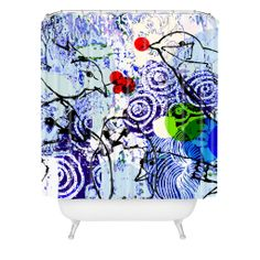 Randi Antonsen Birds And Red Winter Berries Shower Curtain | DENY Designs Home Accessories