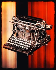 industrial decor typewriter red black  digital collage by Eahkee, $20.00