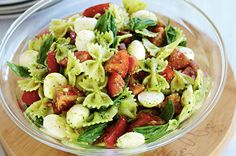 Pasta gets a new twist with pesto and bocconcini in this stunning summer side salad.