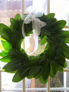 Fresh Magnolia leaf wreath