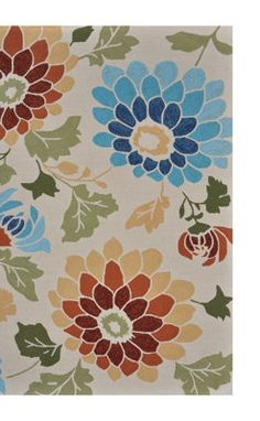 Floral Print Outdoor Area Rug.