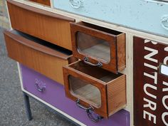 salvaged drawers - upcycled chest posted on dishfunctionaldesigns.blogspot.com Love it!
