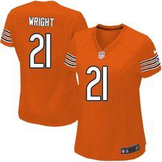 $109.99 Women's Nike Chicago Bears #21 Major Wright Elite Alternate Orange Jersey