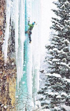 climbing ice...