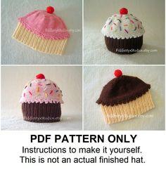 PDF Knitting PATTERN - Baby Cupcake Hat - Baby Hat Knitting Pattern PDF - First 1st Birthday Hat (Newborn, Infant, Toddler, Child sizes).