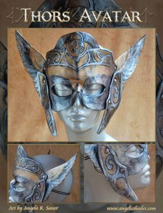 This mask has 3 layers of 7 oz leather riveted and glued in key spots. Dyed, painted with acrylics, then varnished. It's held on with elastic bands, which have been threaded through a panel of the wings in the back.  More at http://angelicshades.etsy.com