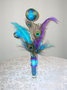 Peacock Themed Centerpiece For Weddings and Special Events, Custom Colors on Request