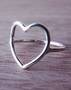 gift ideas, heart ring, sterling silver, bridal parties, bridal party gifts, silver rings, open heart