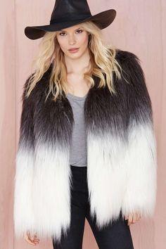 Maison Scotch Fade Out Faux Fur Jacket