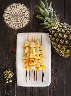 Grilled Honey-Cardamom Pineapple Skewers Prep Time: 20 Minutes, Plus 1 Hour Soaking Time Cook Time: 16 Minutes Makes: 10 Skewers