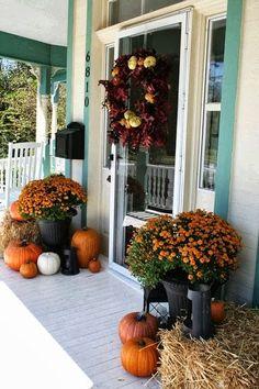 front steps, front door decor, pumpkin, hay bales, front doors, fall decorations, fall decorating, fall porches, front porches