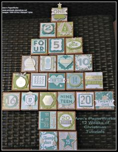 All is Calm Christmas Box Avent Calendar - Stampin' Up! All is Calm DSP, 25 Days Stamp Set, Tiny Treat Boxes - Ann's PaperWorks