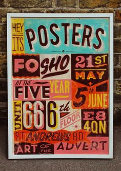 "Posters fo' sho'    Telegramme were asked to contribute a piece for the group art show 'Posters fo' sho"".    The only requirement was that the piece needed to advertise the show itself. I worked up a typographical hand painted sign inspired by the various car garages and painted signs in good ol east london."