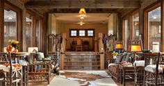 Ranch at Rock Creek - rustic - Dining Room - Other Metro - Superior Hardwoods of Montana