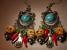 Artisan Original Day of the Dead Earrings with Hand Carved Bone Skulls, Red Hot Chili Pepper Glass Beads, and Pewter Frida Kahlo Hand Charms. Handcrafted by MelancholyMind