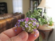 Dollhouse Miniatures ~ Purple & Pink Petunia Flowers Hanging Basket ~ Wilhelmina | eBay