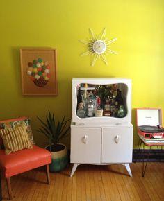 Vintage bar/cabinet makeover-Oh So Lovely Vintage