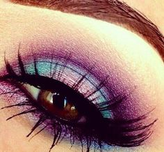 Blue and purple eyeshadow. I love these colors for brown eyes.