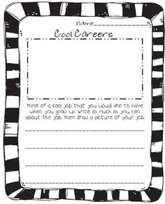 Cool Careers is a writing page for Career Week. It allows your students to put thought into their future career and write about it....