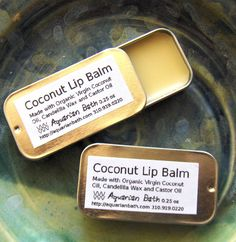 Coconut Lip Balm - Lip Balm Tin - Vegan Lip Balm. $3.50, via Etsy.
