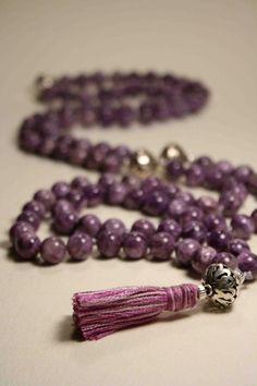 Fine Charoite and Sterling Silver Mala / Prayer Beads