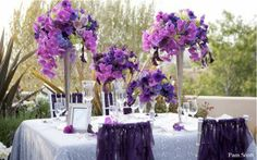 purple wedding table decorations and flower centerpieces