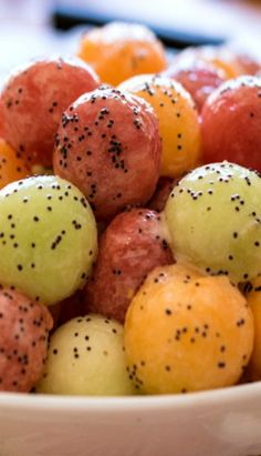 Melon Balls with Poppy seed Dressing