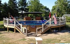 pool idea, flags, deck idea, ground pool, wood decks, backyard pools, backyards, gate, pool decks