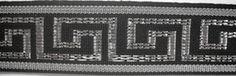 Black and Metallic Silver Greek Key Ribbon Trim 1 Inch By The Yard at Dove Originals Trims   Cording, Lace Trim, Fabric Fringe