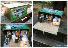 DIY camp kitchen box. I am doing this now with my army trunk