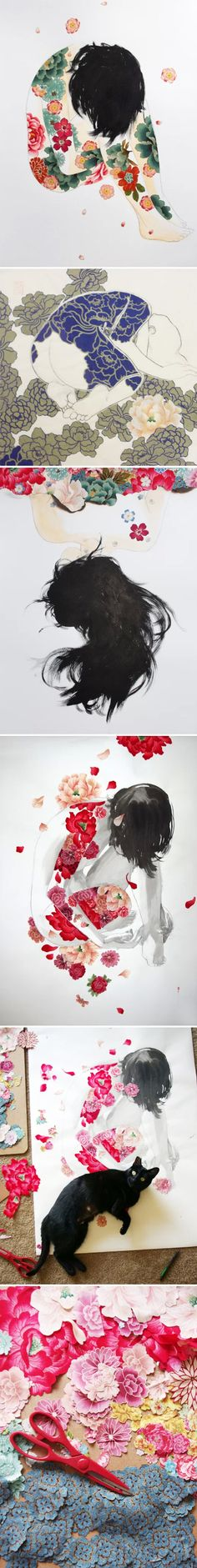 stasia burrington - washy drawings covered in cut fabric flowers <3