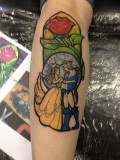 Beauty and the Beast stained glass tattoo by Alley at Living Water Art Studio, Alabaster, Alabama