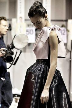 Tonya Vasylchenko backstage at Christian Dior.