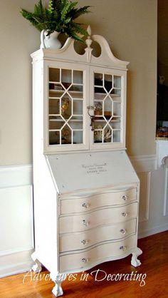 Paint an antique secretary a fresh white shade.
