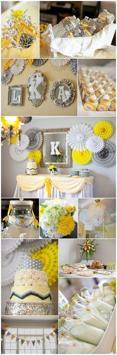 gray and yellow baby shower