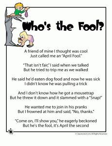 April Fools Poems -   -  Pinned by @PediaStaff – Please Visit http://ht.ly/63sNt for all our pediatric therapy pins