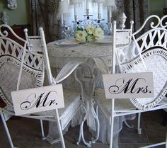 Mr. and Mrs. chair signs.