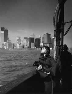 Aboard the Staten Island Ferry with the Twin Towers rising in the background, 1971.