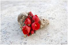 Red flower pendant - Flower jewelry - Bridesmaids jewelry - Botanical