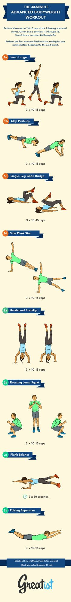 The Advanced No-Gym Bodyweight Workout [INFOGRAPHIC] | #Fitness #Exercise #Sets #Reps #Progression #CircuitTraining #StrengthTraining #TotalBody #Cardio #Workouts #AtHome #Budget #Bodyweight #30Minutes #HighIntensity #Pictures #Handstands #Plank #Core #Superman #ToDo