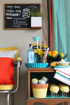 Blogger Challenge: Turn a Side Table Into a Faux Bar Cart (http://blog.hgtv.com/design/2014/03/20/blogger-challenge-turn-a-side-table-into-a-faux-bar-cart/?soc=pinterest)