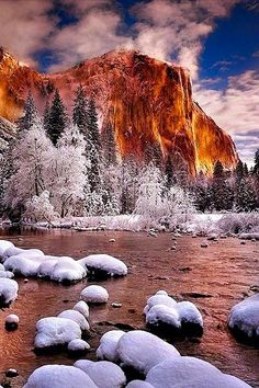 Winter in Yosemite National Park, California - Check out Travel Pinspiration on our blog: http://www.ytravelblog.com/travel-pinspiration-california/
